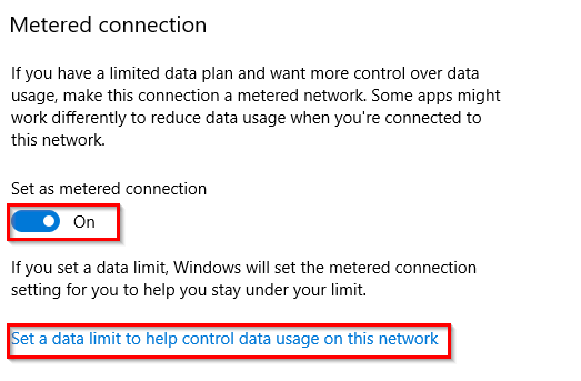 enabling metered connection options for wi-fi networks in Windows 10