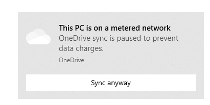Windows 10 notification of being on a metered network
