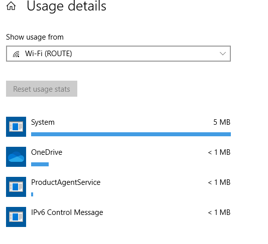 a list of apps with their data usage for the metered connection in Windows 10