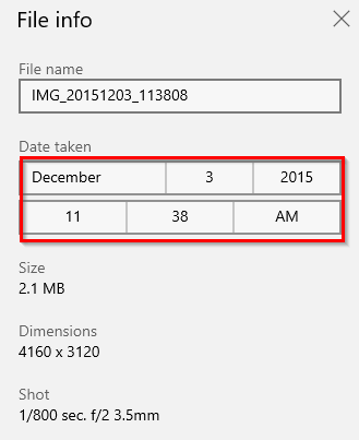 choosing a different date and time for the photo in Windows 10 Photos app