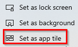 photos can be set as lock screen, background or Windows 10 Photos app tile background