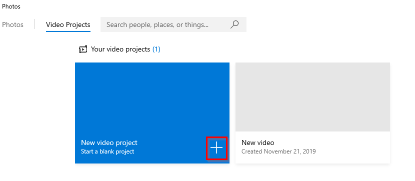 creating a blank video project from a group of photos and videos in Windows 10 Photos app