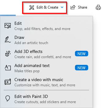 accessing editing options in Windows 10 Photos app