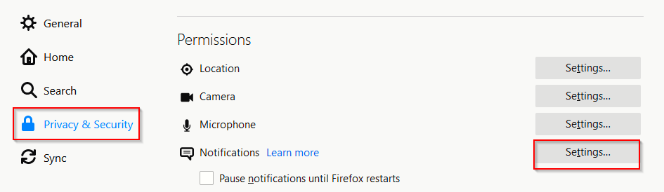 configuring notifications settings in Firefox