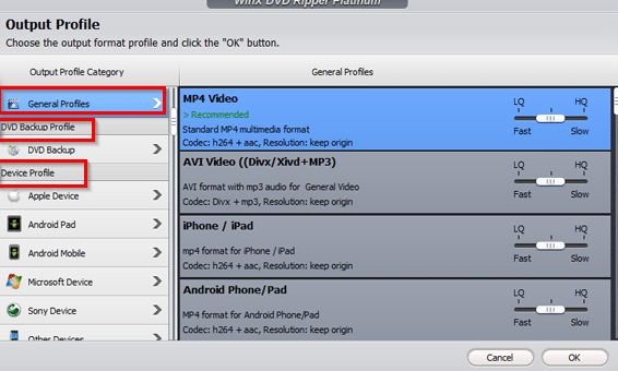 choosing from different profiles for playback in WinX DVD Ripper Platinum
