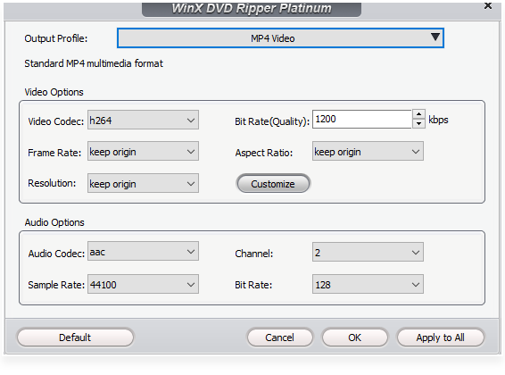 editing the output profile before ripping DVDs in WinX DVD Ripper Platinum