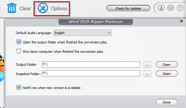 configuring other options in WinX DVD Ripper Platinum