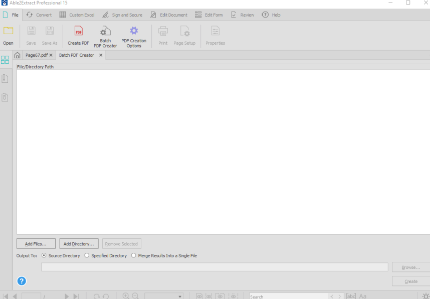 batch pdf creator in Able2Extract Professional 15
