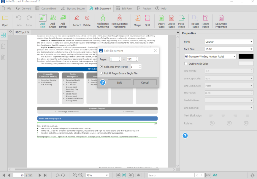split document for reading in Able2Extract Professional 15