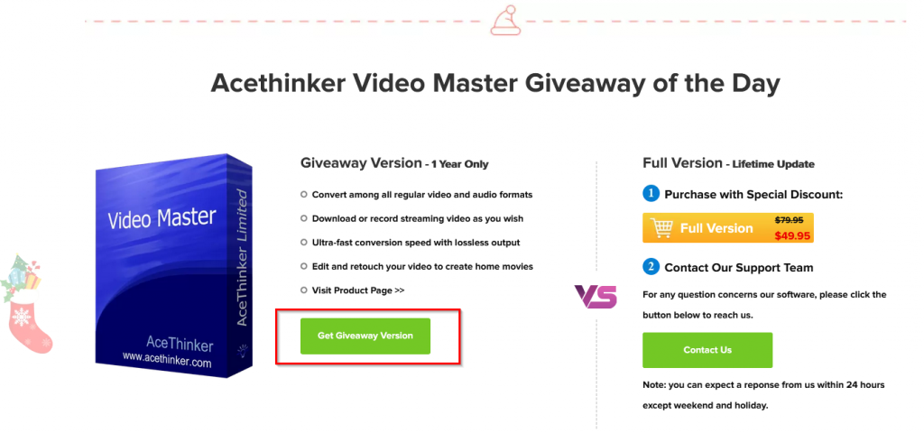AceThinker Video Master Christmas giveaway page