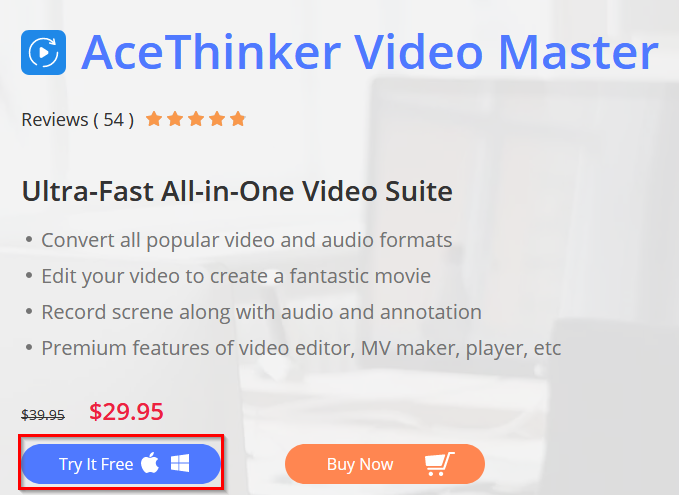 download a trial version of AceThinker Video Master for registering