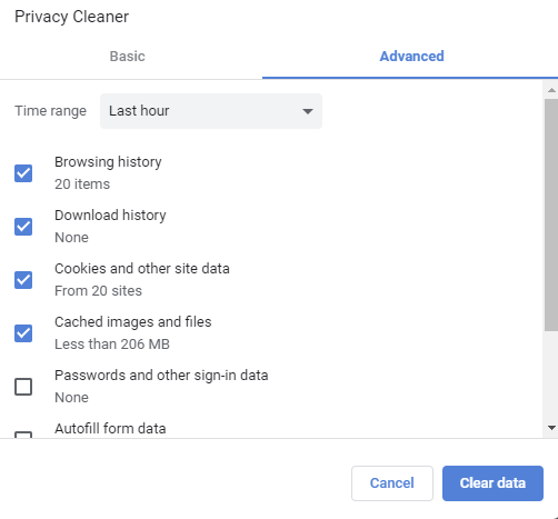 choosing what to delete using Privacy Cleaner in CCleaner Browser