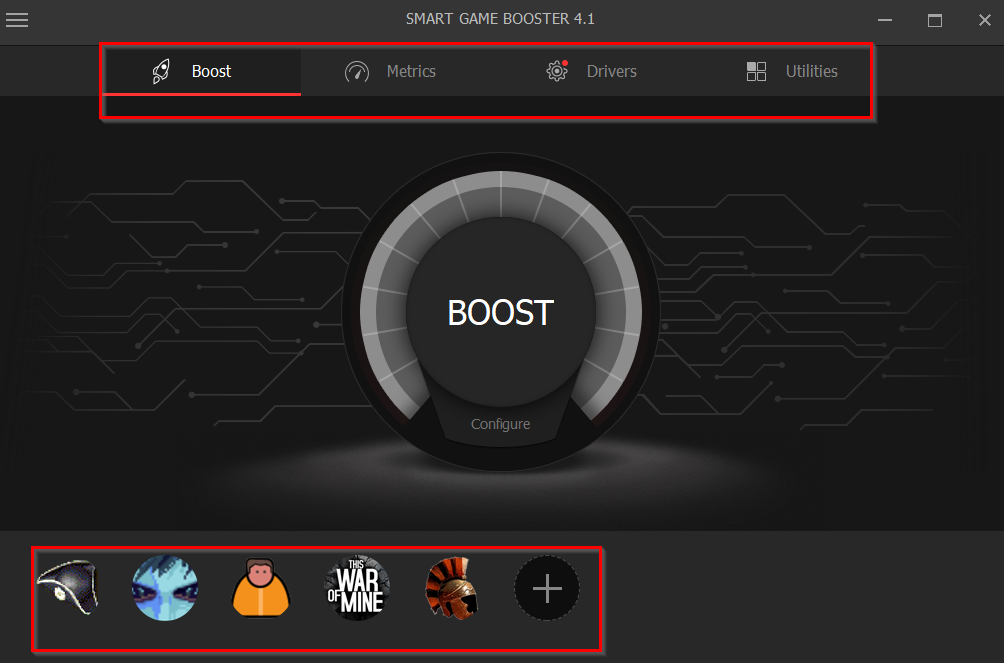 Smart Game Booster main interface