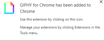 GIPHY for Chrome add-on installed