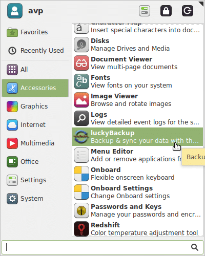 Opening luckyBackup from Accessories menu in Linux Mint Xfce
