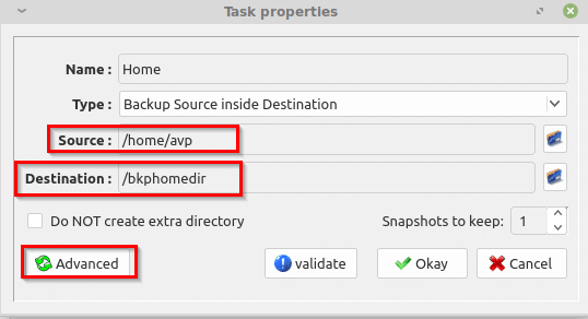 selecting source and destination backup paths in luckyBackup