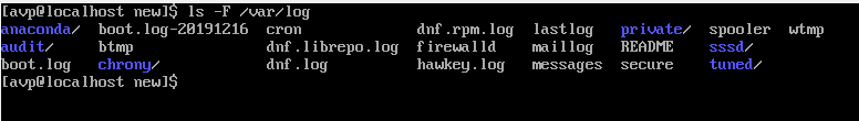 A list of files and directories displayed using the ls -F command