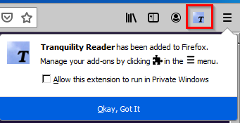 Tranquility Reader add-on installed in Firefox