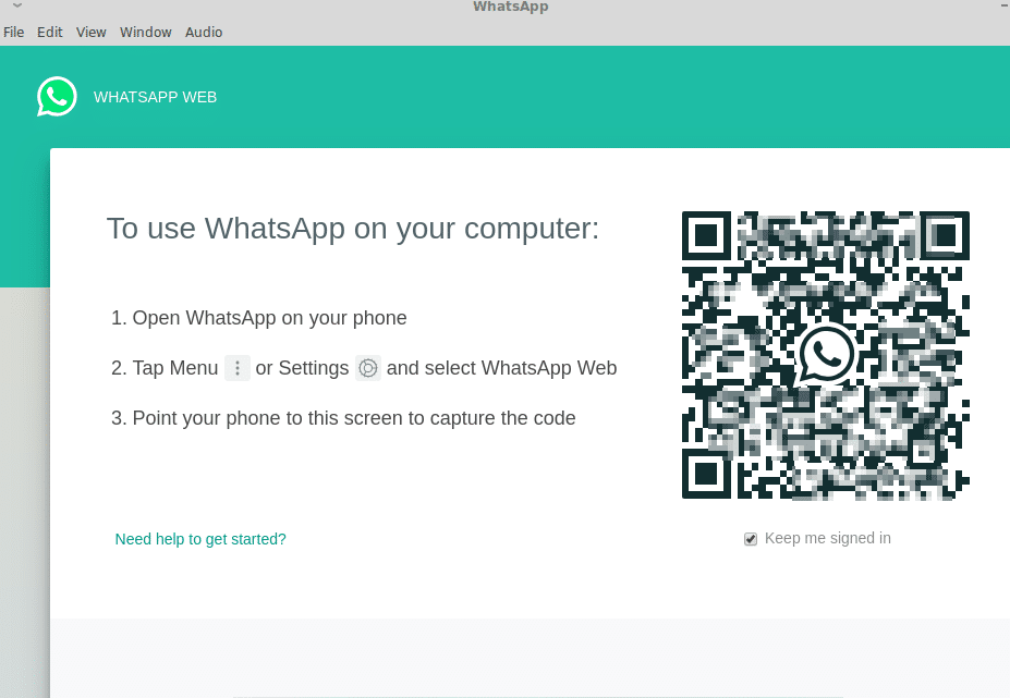 Logging in using WhatsApp Web for WhatsApp Desktop in Linux Mint