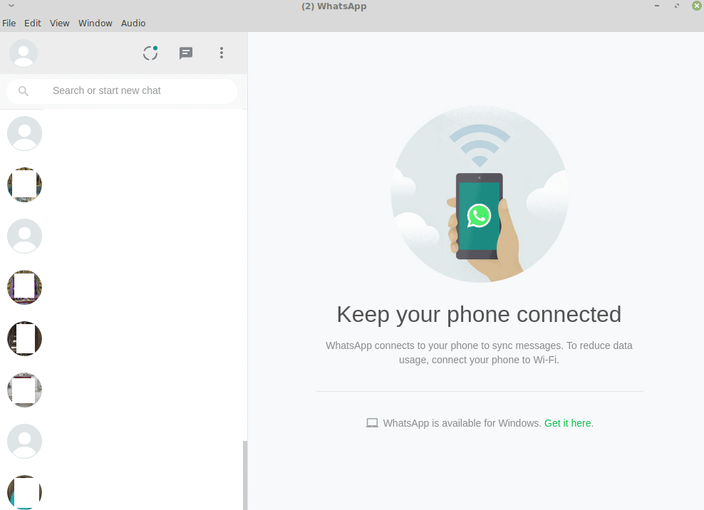 WhatsApp contacts and main interface in the WhatsApp Desktop version for Linux Mint/Ubuntu