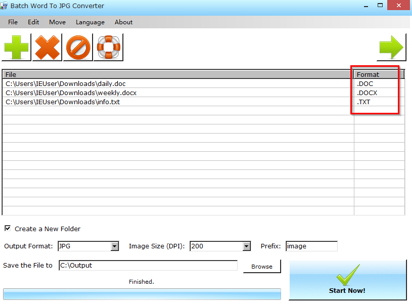 adding documents of different formats to convert them to images in Batch Word to JPG Converter
