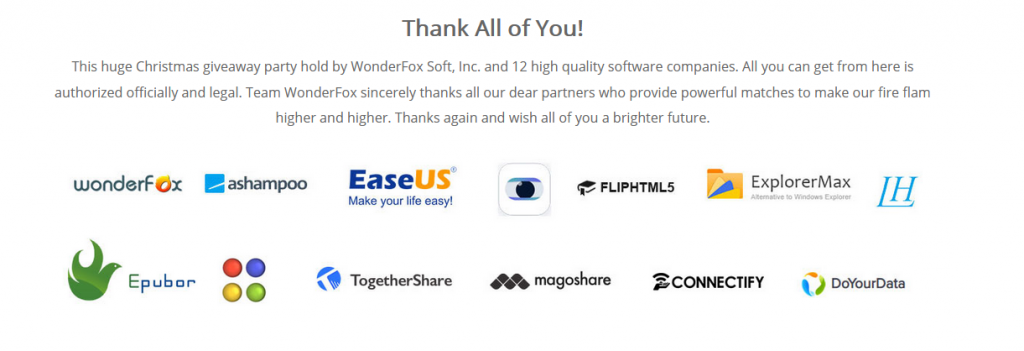 list of software up for grabs during WonderFox Christmas 2019 Giveaway Carnival