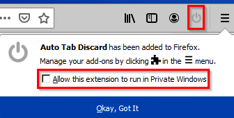 allowing access to private windows for Auto Tab Discard add-on