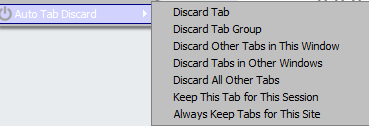 right-click on any tab to bring up Auto Tab Discard actions