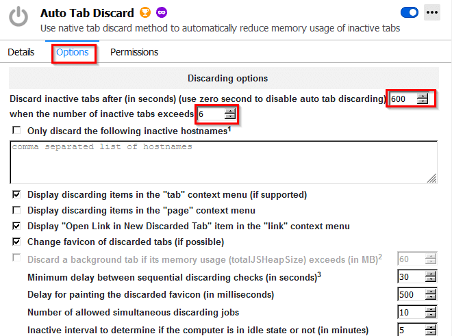 configuring time interval and number of active tabs after which they will be auto discarded