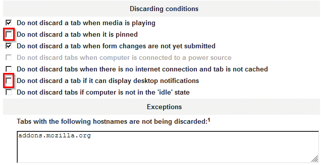 configuring discarding conditions when using Auto Tab Discard