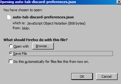 exporting Auto Tab Discard settings as a JSON file