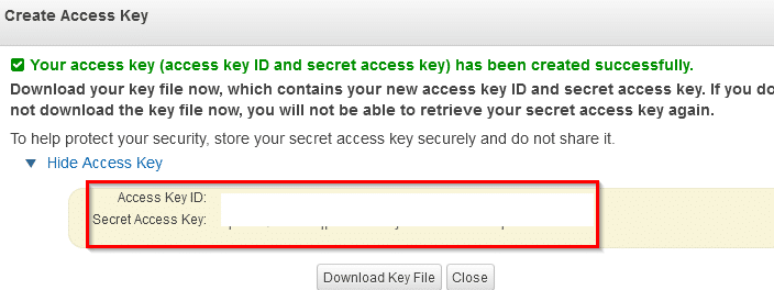 Amazon S3 access key generated for Cyberduck