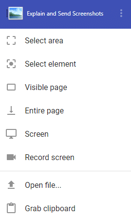 list of screenshot and screen sharing/recording options in Explain and Send Screenshots