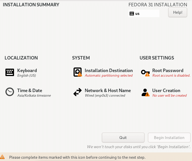 anaconda installer options for installing Fedora Xfce