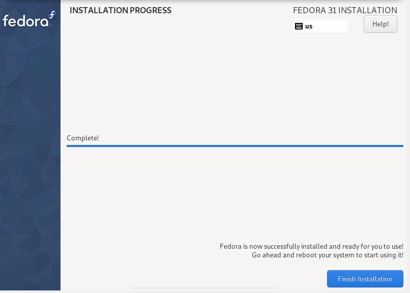 installation of Fedora Xfce completed
