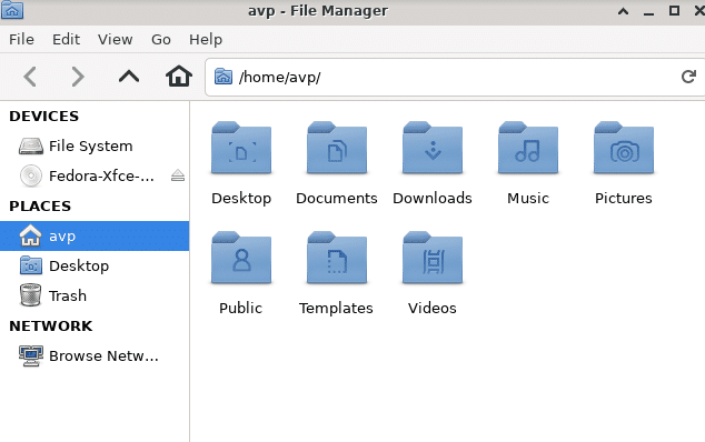 Thunar file manager in Fedora Xfce