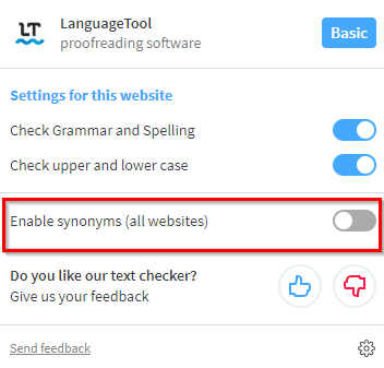 enable synonymns for all websites in Grammar and Spell Checker