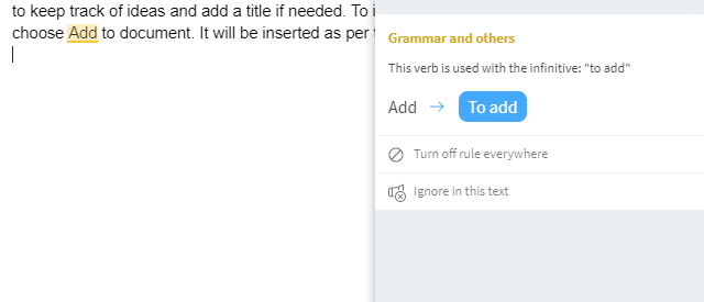 grammar usage error detected by Grammar and Spell Checker add-on