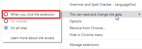 setting the extension to be active only when it is clicked in Google Chrome