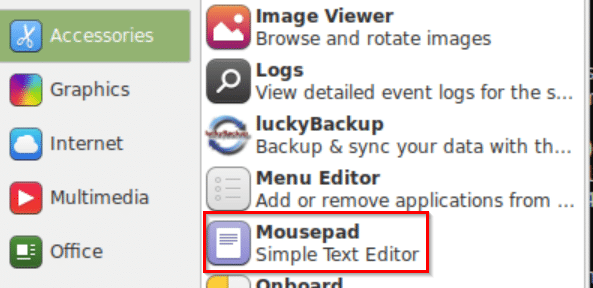 Mousepad installed in Linux Mint Xfce