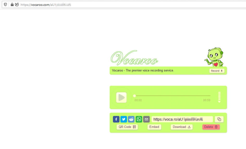 accessing and listening to audio clips from Vocaroo in browser