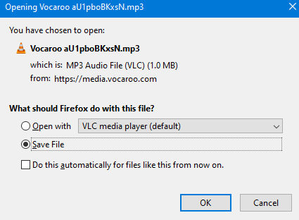 saving recorded audio clips locally from Vocaroo