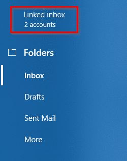accessing linked inbox settings in Windows 10 Mail app