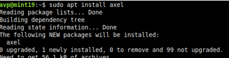 installing axel in Linux Mint