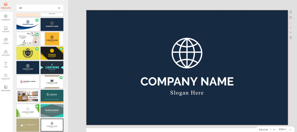 editing a business card template in DesignCap