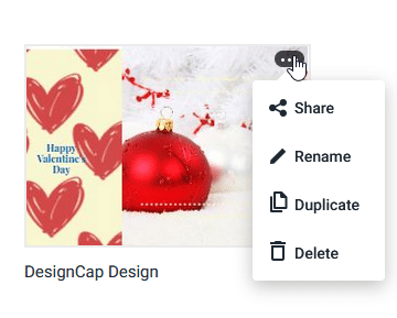 sharing, renaming, duplicating or deleting esiting designs in DesignCap