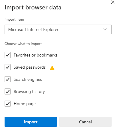 choosing what to import and from where in the new Edge browser