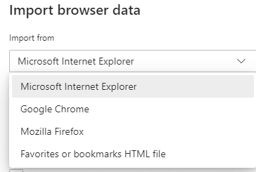 selecting the browser or bookmarks file for importing favorites to the new Edge browser