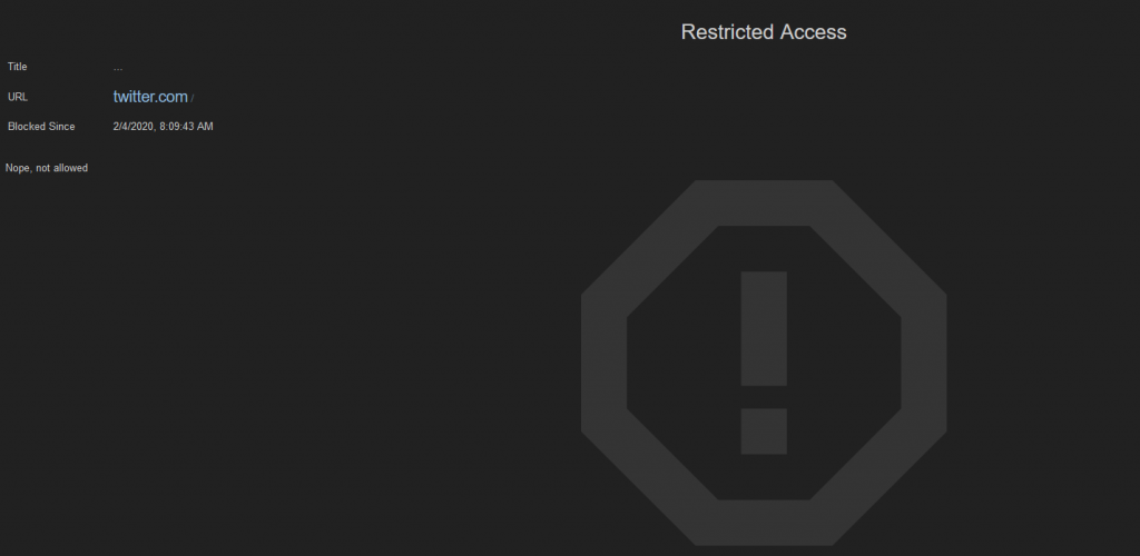 Block Site default page when accessing blocked websites