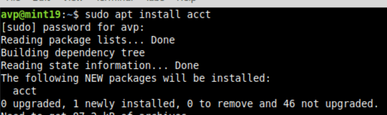 installing acct package in Linux Mint